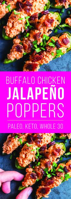 Keto Paleo Whole30 Buffalo Chicken Jalapeño Poppers | Fresh Planet Flavor