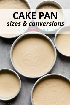 Here is an in-depth look at common cake pan sizes & conversions, as well as how to adjust recipes or make substitutions based on the pan sizes you have. Baking Secrets, Baking Tips, Baking Recipes, Baking Hacks, Baking Ideas, Baking Pan Sizes, Cake Pan Sizes, Round Cake Pans, Round Cakes
