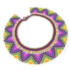 Huichol necklace Colorful seed bead collar Mexican choker