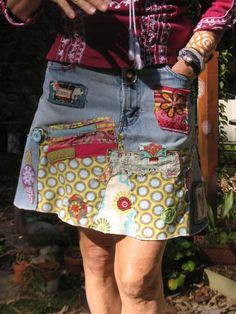 Custom Jean Skirt for you - Hippie Boho denim patch work recycled retro jeans coachella festival Jean Hippie, Hippie Jeans, Hippie Boho, Jeans Recycling, Hippie Skirts, Diy Mode, Patchwork Jeans, Denim Ideas, Recycled Denim