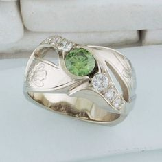 14kt white gold engagement ring Round green and white diamonds hand-engraved flower designs
