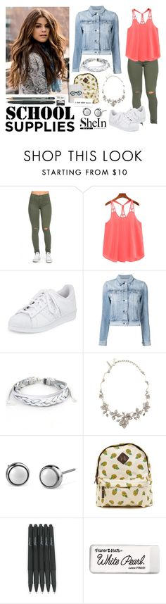 """""""368->School Supplies"""" by dimibra ❤ liked on Polyvore featuring adidas, 3x1, West Coast Jewelry, Oscar de la Renta, Paper Mate and Monkey Business"""