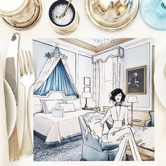 WEBSTA @ meganhess_official - Breakfast with @carolinelfoster2 and @martinagranolic at @the_lanesborough My sketch of their beautiful powder blue suite.... #ArtistInResidence