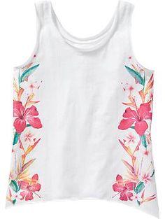 Girls Tropical-Graphic Handkerchief-Hem Tanks