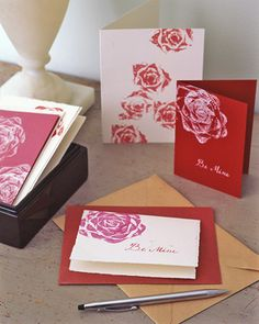 Create valentines with a veggie stamp.  Use one bunch of celery, bok choy, or romaine lettuce... cut off base and use water based paints to stamp on to cards.  Makes beautiful 'flower' pattern!