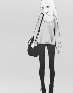 Cute and casual anime girl outfit with the black leggings, sweater, and satchel purse.
