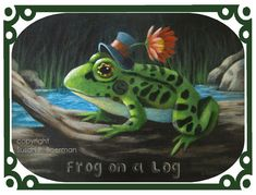 Blank Note Card 'Frog on a Log' - Green Frog Wearing Mini Top Hat with Flower Sitting on a Log