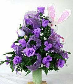 Easter Bunny Cemetery Flower Arrangement Featuring Purple Roses With Babies Breath by Crazyboutdeco on Etsy Grave Flowers, Cemetery Flowers, Church Flowers, Funeral Flowers, Silk Flowers, Cemetery Vases, Easter Flower Arrangements, Funeral Flower Arrangements, Easter Flowers