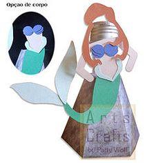 Porta Tubete Ariel Sereia Projeto de corte no formato GSD, à venda nos sites: http://www.artscrafts.com.br/ e http://www.cortecrie.com.br/