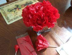 Tootsie Pop Tissue Flowers =)