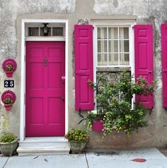front door paint colors - Want a quick makeover? Paint your front door a different color. Here's some inspiration for you. Front Door Paint Colors, Painted Front Doors, Front Door Makeover, Front Door Decor, Blinds For Windows, Windows And Doors, Window Blinds, Sash Windows London, Rose Fuchsia
