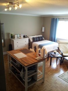 Studio Apartment, that island is a table, storage unit and counter! Very practical!
