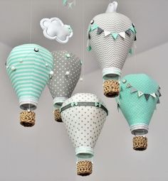Hot air balloon baby mobile,Grey,Mint,White,Personalized,Handmade,Nursery decor,Travel theme,Custom mobile, Create mobile in your color