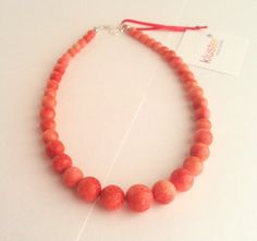 Coral Necklace Pink Necklace Orange Necklace Peach by kluster, $48.00    Would be cool w/ unakite plugs.