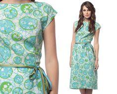 60s Sheath Dress Blue Green Batik Floral 50s Wiggle by ShopExile, $44.00