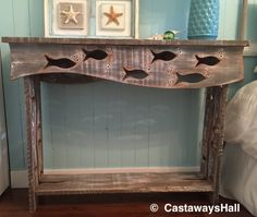 Escuela de madera de pescado sofá mesa salón lado Mesa consola