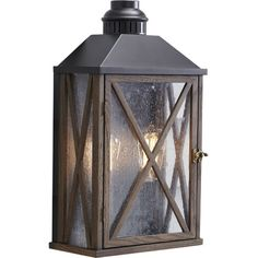 Cast a warm glow on your front porch or patio with this stylish steel and aluminum wall sconce, showcasing an oak wood lattice overlay....