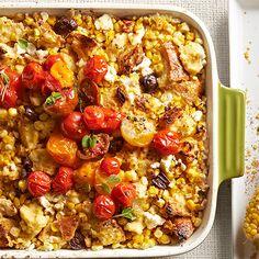 Tomato-Topped Corn and Feta Casserole