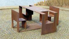 public corten picnic bench