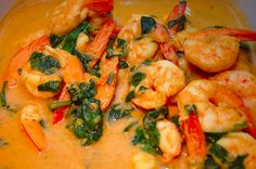 Paleo curried shrimp and spinach