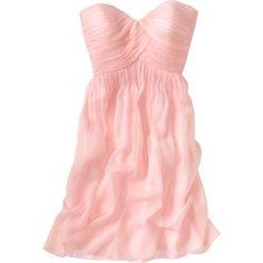 Strapless Silk Chiffon Dress ($138) ❤ liked on Polyvore