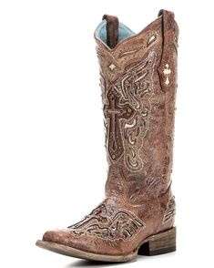 Why Do I like all the Expensive boots?  Corral Women's Cognac/Bone Inlay Cross & Studs Square Toe Boot - C2856