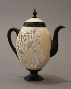 "Larisa Safaryan Teapot Rhea Egg Shell, Ebony 6 3/4""h x 5 5/8""w x 3""d"