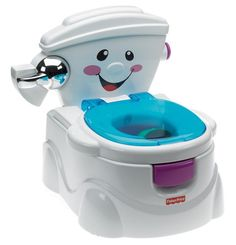 """Potty really does make potty training fun! Toddlers are rewarded with 5 phrases and 2 sing-along training songs for """"contributions. A guard for boys is included. Fisher-Price My Potty Friend. Festa Baby Alive, Baby Alive Dolls, Toilet Training Seat, Potty Training Seats, Best Potty, Toddler Potty, Toddler Chair, Baby Items For Sale, Baby Essentials"""