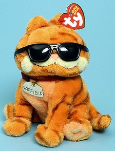 Cool Cat Garfield, Ty Beanie Baby cartoon cat reference information and photograph. Rare Beanie Babies, Original Beanie Babies, Beanie Buddies, Ty Beanie Boos, Cute Stuffed Animals, Cute Animals, Ty Bears, Garfield Cat, Ty Plush