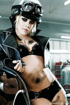 "P!nk...VERY ""Bond-Baddie"" look here...Perhaps a ""Spectre"" Biker-Assassin?"