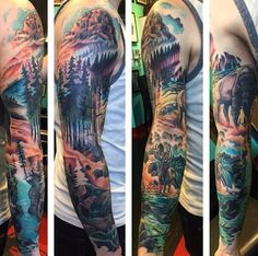 Mens Wilderness Full Tree Sleeve Tattoo Design Ideas
