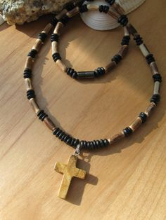 Mens choker men's choker surf choker mens necklace wooden choker with natural stone cross religious gift boys confirmation gift