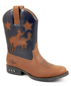Roper Kids Boys Western Lighted Brown Faux Leather Cowboy Cutout Comfort Boots