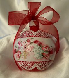 Hand Painted Red Christmas Ornament Cottage Chic Roses Hydrangeas Lace HP Glass