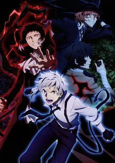 Ryunosuke Akutagawa, Nakajima Atsushi, Osamu Dazai and Nakahara Chuuya Bungou Stray Dogs Wallpaper, Dog Wallpaper, Stray Dogs Anime, Bongou Stray Dogs, Manga Anime, Anime Art, Mystery, Fanart, Dazai Osamu