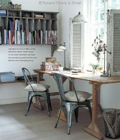 Rustic style office desk Love those shutters