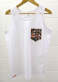 Men's Floral Design White Pocket Tank Top, Men's T- Shirt, Pocket tee, Unisex, Menswear, UK