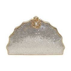 JUDITH LEIBER Classic Pave Rhinestone Minaudiare  with Chain Strap & Gold Detail
