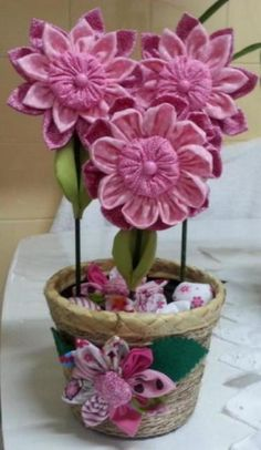 Vaso com flores de tecido   Val Ribeiro   Elo7