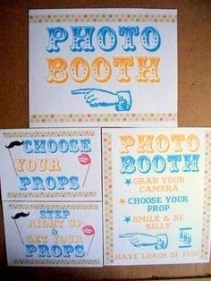 ORIGINAL Vintage Circus Simple Single Sheet Photobooth and Props Sign- Set of 4