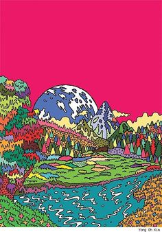 Yong Oh Kim Turns Street Fashions, Travel Landscapes and the Apocalypse into Psychedelic Cartoons [Art] Collage Poster, Photo Wall Collage, Picture Wall, Collage Art, Hippie Painting, Trippy Painting, Hippie Wallpaper, Trippy Wallpaper, Art And Illustration