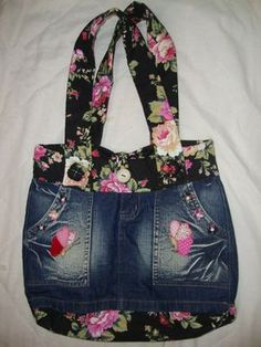 Alearte: Bolsa, recycle, upcycle, re-use, DIY, bag, purse, tote, flowers, fabrique, pockets, pretty, feminine, beautiful, beauty, details, crafting idea Ted Baker, Old Jeans, Hand Bags, Pants
