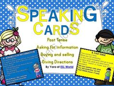 Speaking Practice Cards ESL Speaking Game Cards from SeaofKnowledge on TeachersNotebook.com -  (10 pages)  - This bundle includes speaking cards to be used in ESL classes. I love using role plays to encourage ELL learners to speak. They are usually fun and interactive - my students react well to these types of activities. Even the shy ones!