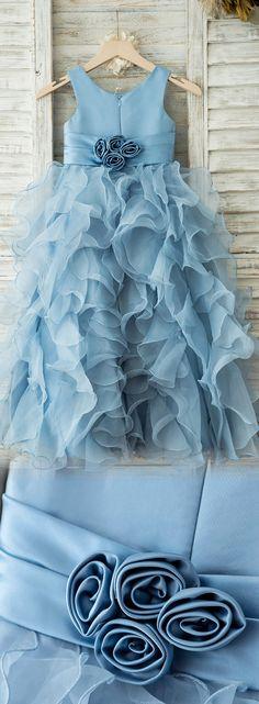 Ball Gown/Empire Floor-length Flower Girl Dress - Organza Sleeveless Scoop Neck With Flower(s)   #Flowergirldress