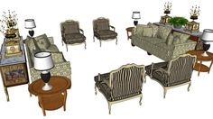 Grande visualização do modelo 3D da sala elegante