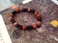 Natural Stone bead Lotus yoga band custom fit simple by Yashodara