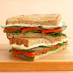 This simple vegetarian sandwich is full of fresh flavors. To mix it up, try a flavored hummus in place of original. Whole grain: Two toasted slices of Healthy Choice Hearty 100% Whole Grain bread Lean protein: 1/4 cup Athenos Original Hummus Vegetables: Sliced cucumber, spinach, roasted red peppers Tip: If you prefer, use sliced tomatoes instead of red peppers.
