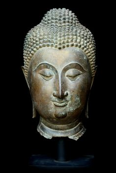 Extremely Rare Early 16C Bronze Chiangsang Buddha Head