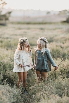 Rylee & Cru lookbook, kids photography, meadow, boho, flower wreath, girls dress, natural