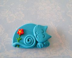 Polymer Clay Turquoise Blue Cat with red flower pin -- So cute!!